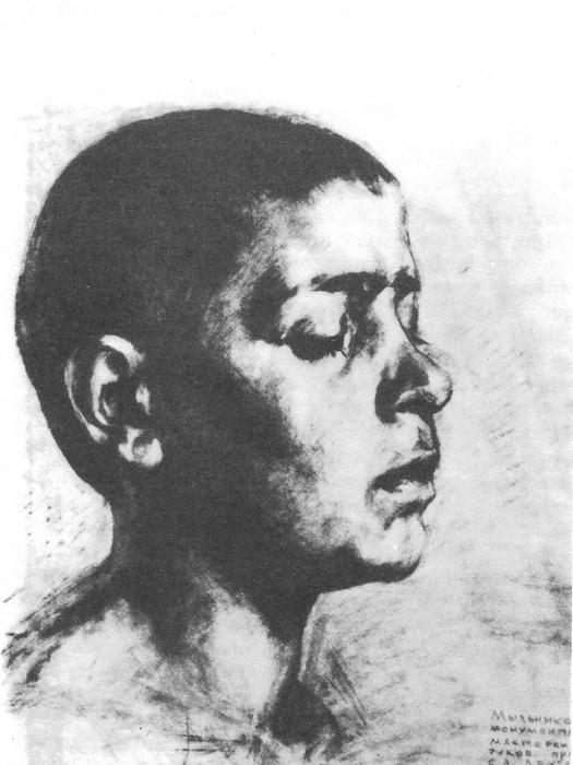 А.А. Мыльников. Портрет мальчика. Карандаш. 1943 г.