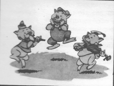 Кадр из мультфильма «Три поросёнка». 1933 г.