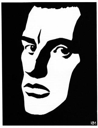Ю.Б. Могилевский «Владимир Маяковский» Линогравюра. Пожалуй, самая узнаваемая работа Ю. Могилевского, она используется как логотип московского академического театра имени В. Маяковского.