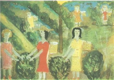 Нана Гасиашвили, 10 лет. На чайной плантации. Гуашь.