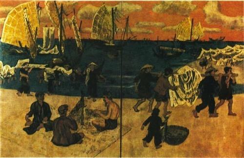 Нгуен Ван Ти. Рыбаки в устье рек Хан и Хой. Лак. 1982 г. 125 X 190 см