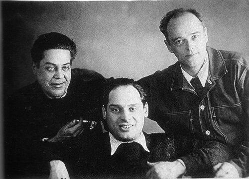 Юрий Васнецов, Валентин Курдов и Евгений Чарушин. 1940-е годы