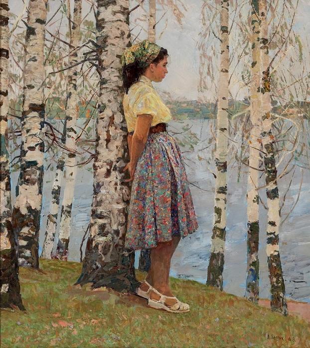 А.П. Белых «Весна на Волге» Холст, масло. 1968 г.