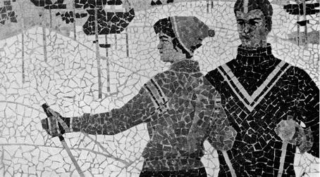 Виталий Удов. Лыжники. Керамическая мозаика. 1964 г. (Фотография из журнала «Художник» № 6 за 1964 год.)