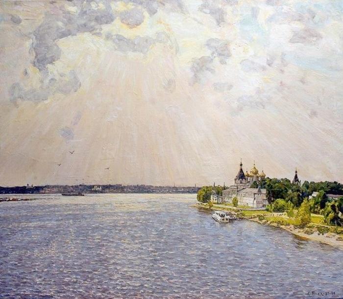 А.П. Белых «Волга у Ипатия» 1985 г. Холст, масло.