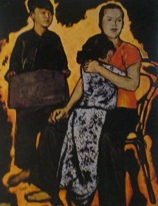 Нгуен Дык Нунг. «Конец испытаниям атомного оружия, американские империалисты!» Лак.  1960 г.