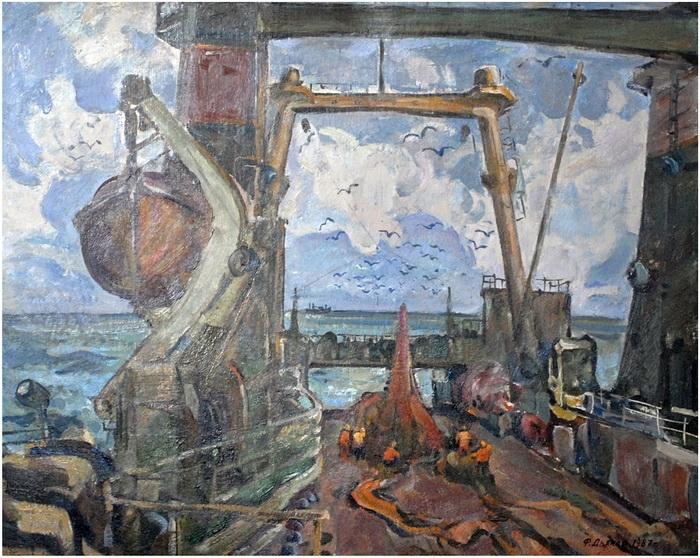 Фёдор Григорьевич Дьяков. Траулер в океане. 1987 г.