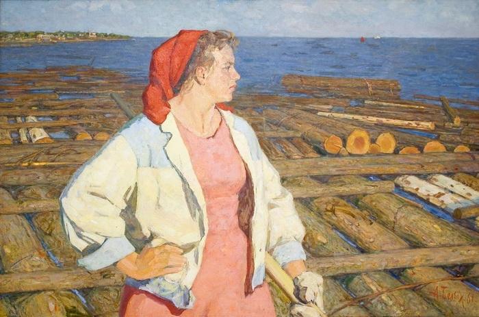 А.П. Белых «Волжанка» — позировала супруга художника Надежда Холст, масло. 1961 г.