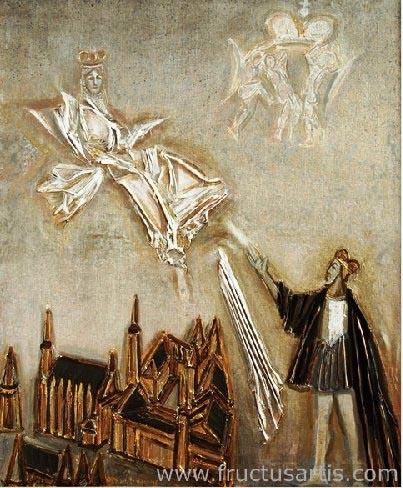 Алоизас Стасюлявичюс. Барбора Радвилайте. Сигизмунд Август. 2004 г. Полотно, акрил, коллаж. 100 x 80