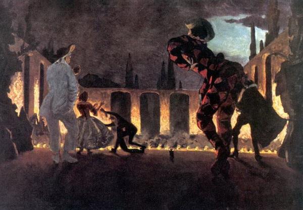А. Бенуа. Итальянская комедия «Нескромный Полишинель» 1906 г. Бумага, масло.