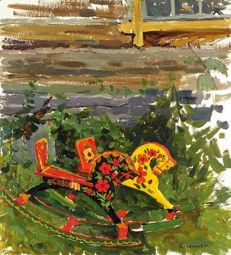 Сайкина Александра Васильевна  «Лошадки» Картон, масло. 48,5х44 см 1964 г.