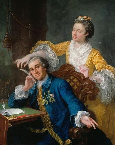 Уильям Хогарт «Портрет актёра Дэвида Гаррика с супругой» 1757 г.