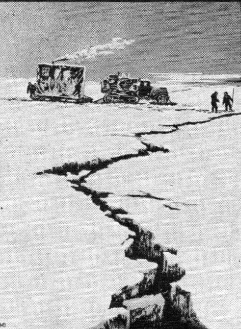 В. Мешков. Неожиданное препятствие. Цветная линогравюра. 1959 г.