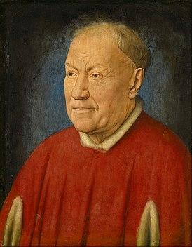 Ян ван Эйк Портрет кардинала Никколо Альбергати.  Дубовая доска, масло. 34,1 × 27,3 см  Музей истории искусств, Вена.