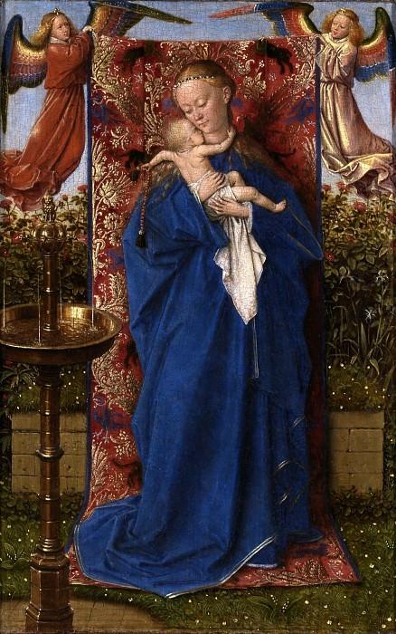Ян ван Эйк. Мадонна у фонтана. 1439 г. 19x12 см Королевский музей изящных искусств, Антверпен.