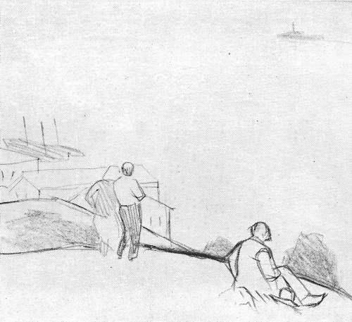 А. Зыков «Над водой» из серии «На Волге» Бумага, карандаш. 1966 г.