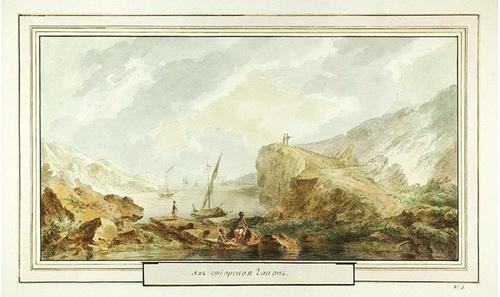 Жан Балтазар де ла Траверс  «Ахтиарская гавань»  1790 г. Бумага, акварель. Частное собрание.