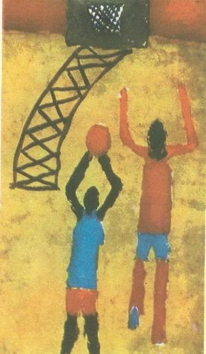 Джумбер Вашакидзе, 10 лет. Баскетбол. Гуашь.
