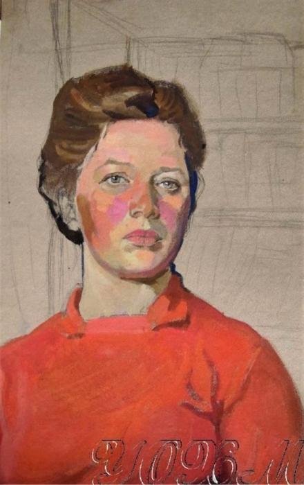 Е.А. Богомолова. Автопортрет в красном. 1960 е годы