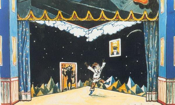 А. Бенуа. Комната Петрушки. Эскиз декорации для балета Стравинского «Петрушка». 1911 г. Гуашь, графит, чернила.