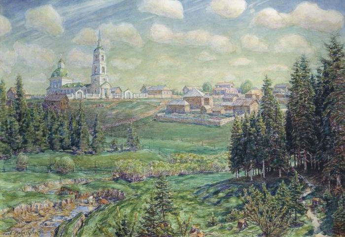 Аполлинарий Васнецов  «Начало мая. Рябово.»  1918 г.