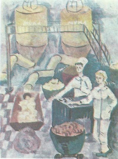Оля Короткова, 13 лет. На хлебозаводе. Гуашь. Вологда.