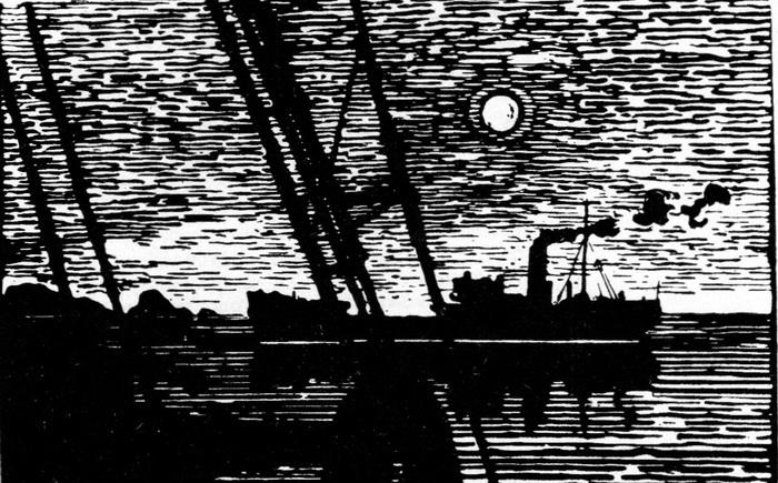А. И. Авдышев. Полярное солнце. Линогравюра. 1962 г.