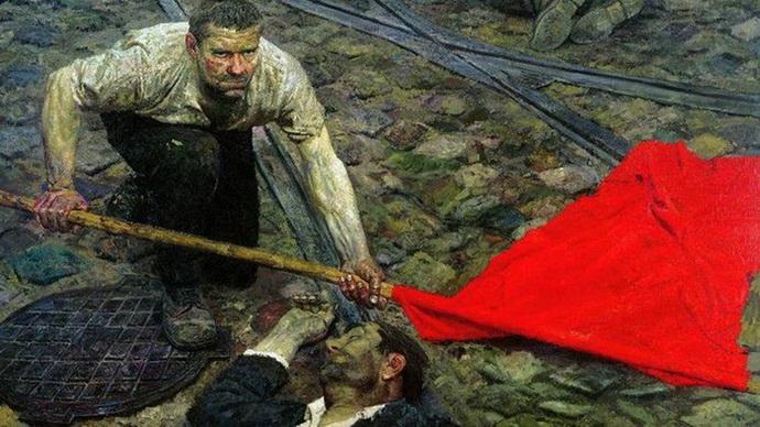 Гелий Коржев «Поднимающий знамя»