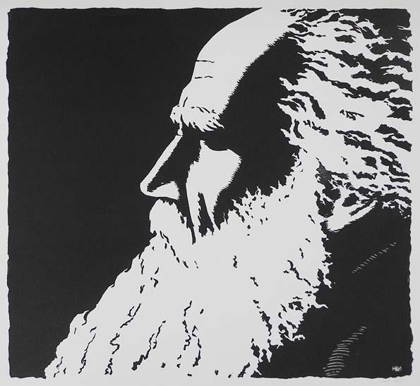 Ю.Б. Могилевский  «Лев Толстой». Линогравюра.