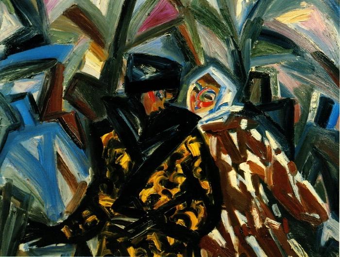 Анна Бирштейн. Прогулка с Татьяной Назаренко. 1992 г. Холст, масло. 120х150 см