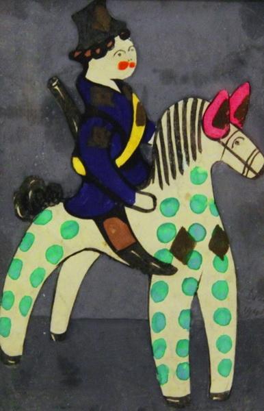 А.И. Деньшин «Эскиз игрушки «Охотник на лошадке» бумага, гуашь; 35х27 см; 19.5х12.5 в свету. 1940-е г. (Частное собрание)
