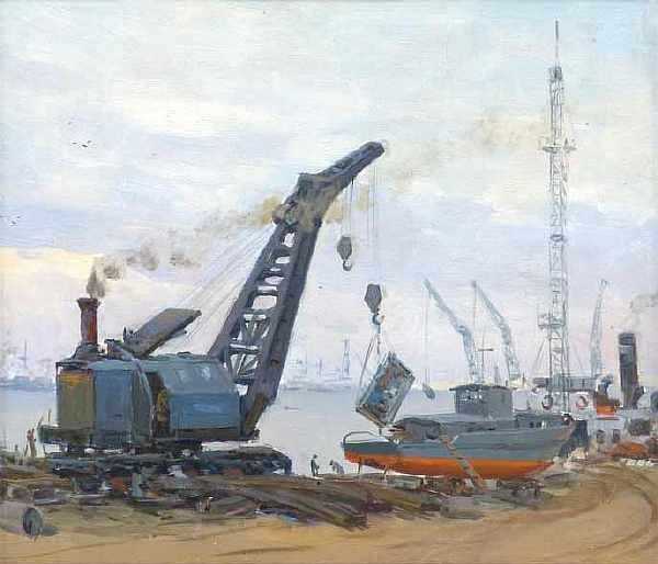 А.И. Яблоков «На стройке» Холст на картоне, масло. 33х37 см. 1954 г.