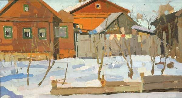 В. М. Сидоров «Деревня зимой»  Картон, масло. 25,5х48,5 см. 1959 г.