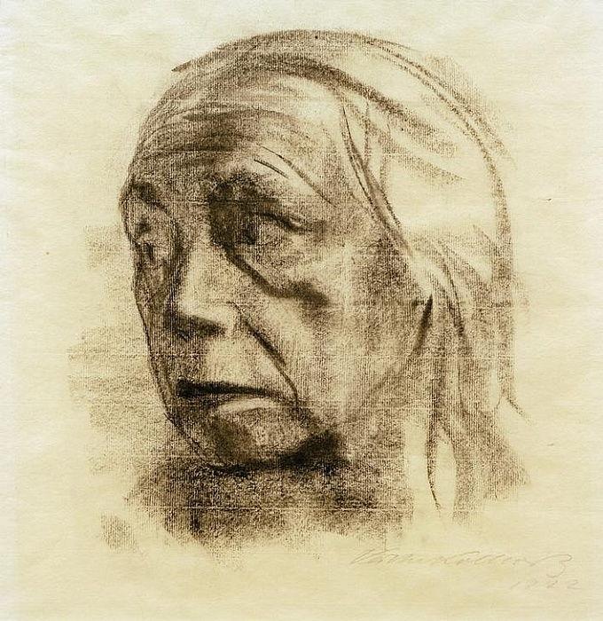 К. Кольвиц. Автопортрет. 1922 г.