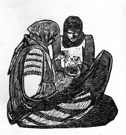 АльбинаГеоргиевна Акритас. Женщины Северного Кавказа. Линогравюра. 1963 г.