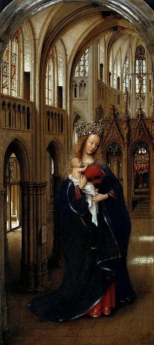 Ян ван Эйк. Мадонна в церкви. Ок 1440 г. 31x13 см  Берлинская картинная галерея старых мастеров, Берлин.