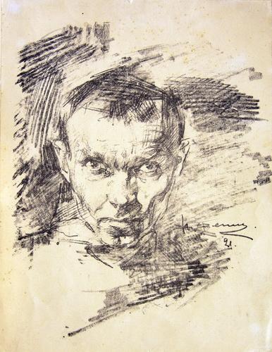 Н. Фешин. Автопортрет. Автолитография 1921 г.