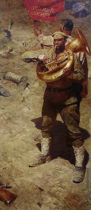 Гелий Коржев. Триптих «Коммунисты». Правая часть триптиха – «Интернационал». Холст, масло. 290 x 130 см