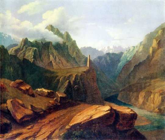 М.Ю. Лермонтов «Башня в Сиони» (масло, 1837-1838) Это самая большая по размеру картина поэта, которую он подарил своей бабушке Е. А. Арсеньевой. Сейчас она находится в Музее-заповеднике «Тарханы».