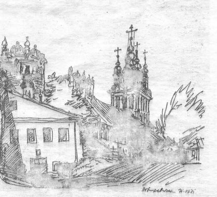 Рис. 4. Зорон Петрович. Новодевичий монастырь. Надвратная церковь. Фломастер. 1978 г.