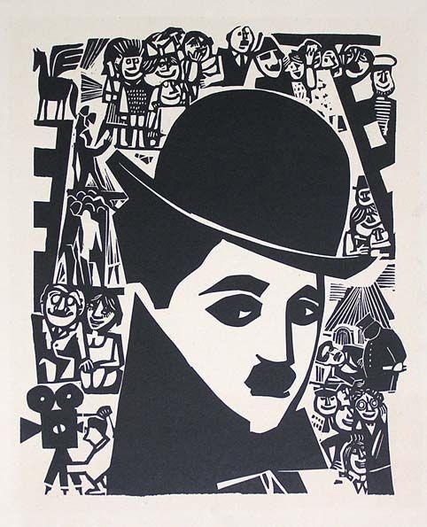 Ю.Б. Могилевский  «Чарли Чаплин». Линогравюра.