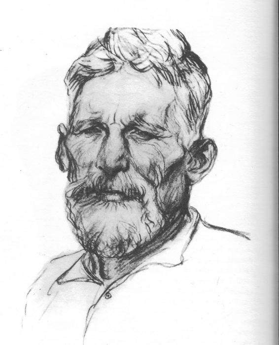 А.А. Пластов. Портрет старика. Карандаш.