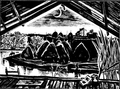 А. Колчанов. Сенокосный вечер. 1981 г. Ксилография.