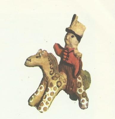 Олег Ерёмин, 9 лет. Всадник на коне. Глиняная игрушка.