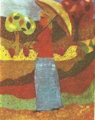Ашот Геворкян, 12 лет. Женщина под зонтом. Гуашь.