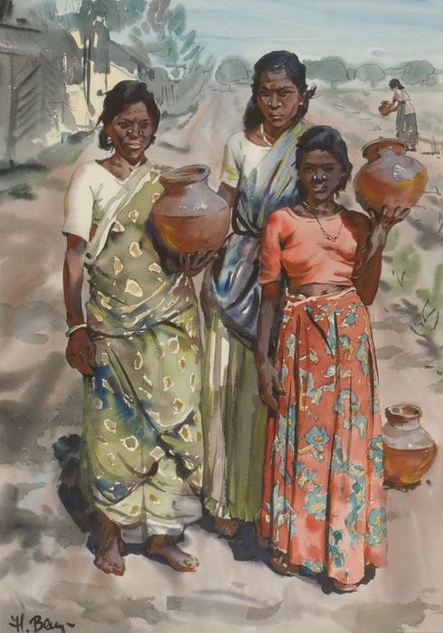Величко Н.П. «Женщины в Калькутте» Бумага, акварель. 69,5х49,5 см