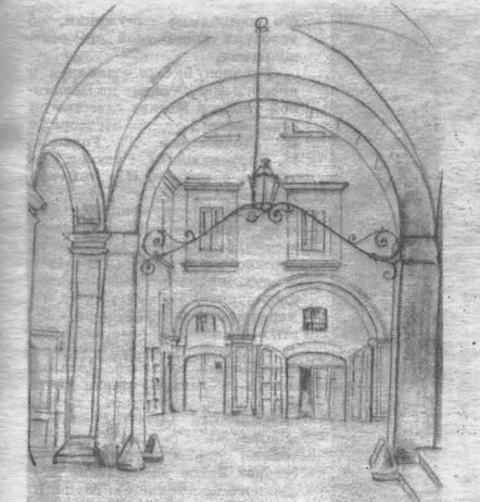 Рис. 2. Г. Гольц. Портал с фонарём. Неаполь. Уголь, тушь. 1924 г.