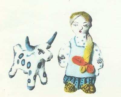 Наташа Носкова, 9 лет. Алёнушка с коровой. Глиняная игрушка.