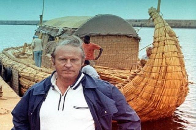 Тур Хейердал и его тростниковая лодка «Ра»