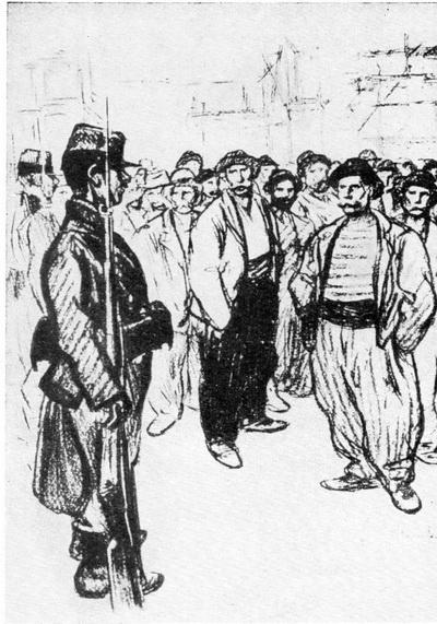 Стейнлен. Стачка. Литография. 1898 г.